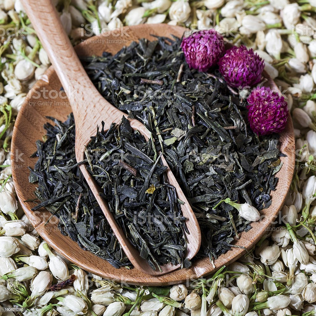 Dry Tea Flowers Composition royalty-free stock photo