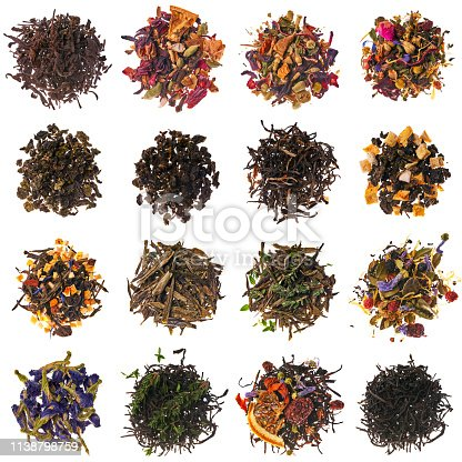 Tie Guan Yin, Oolong, Earl Grey, Herbs for mulled wine with apples, Black tea with Rowan berries, Sencha, Alpine herbs