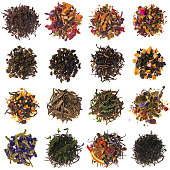Tie Guan Yin, Oolong, Earl Grey, Herbs for mulled wine with apples, Black tea with Rowan berries, Sencha, Alpine herbs