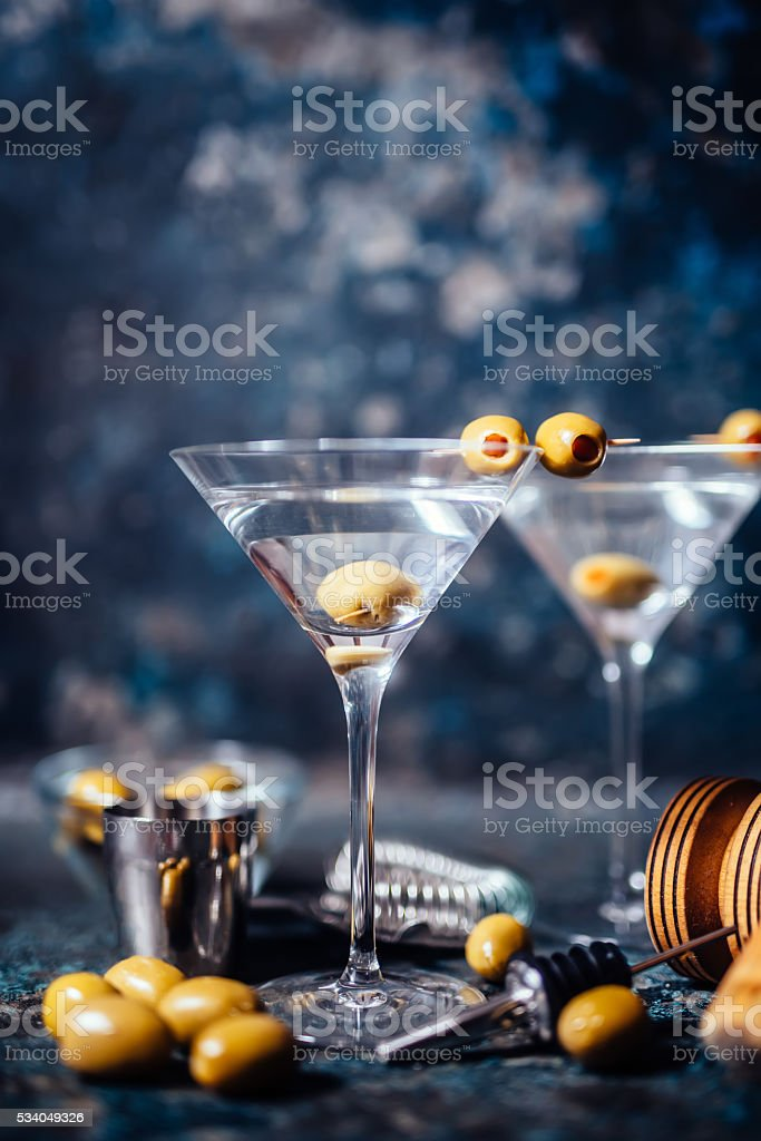Dry vodka martini, gin tonic cocktail served in pub stock photo