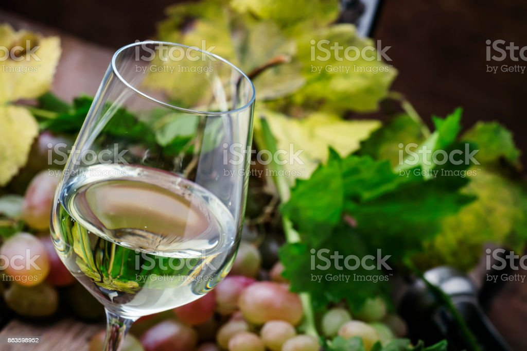 Dry white wine and grapes stock photo