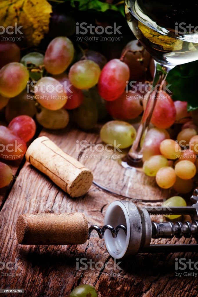 Dry white wine in glass and corkscrew with cork stock photo