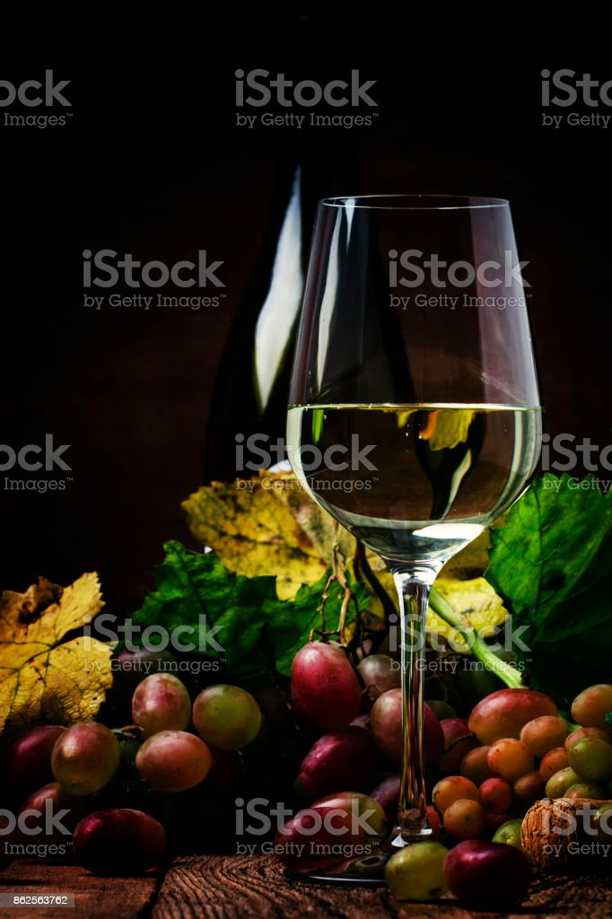 Dry white wine in glass, old-fashioned still life stock photo