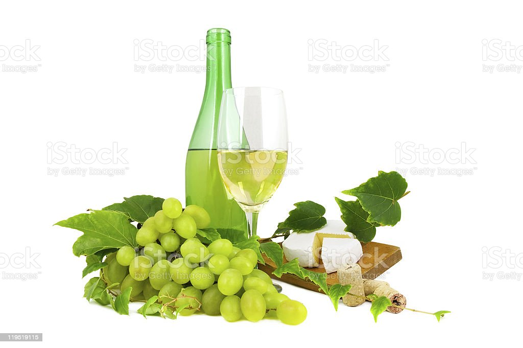 Dry wine with grapes and cheese. royalty-free stock photo