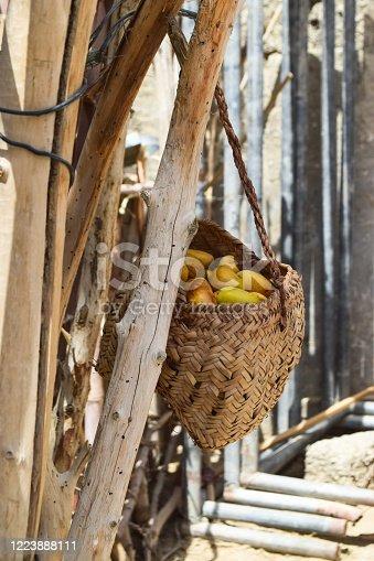 978314900 istock photo Dry Yellow Brown Fresh Dates Sweet Fruit Ramadan Kareem Food In ripen process in leaf box 1223888111