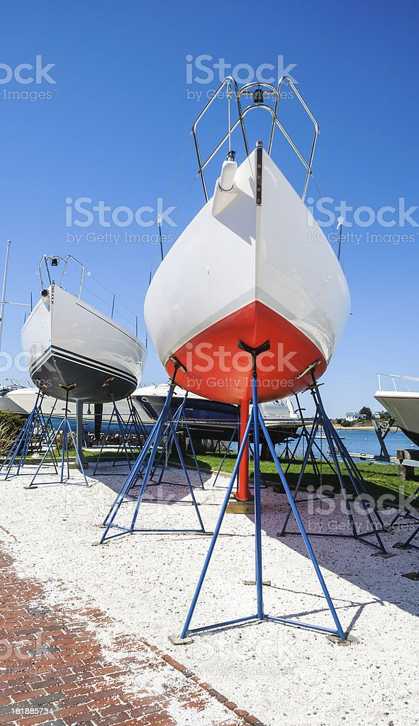 Drydock Sailboats stock photo