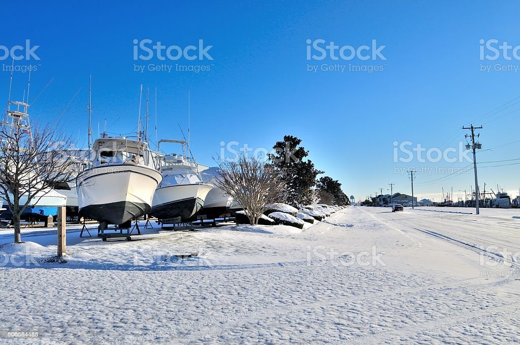 Drydocked Boats In West Ocean City stock photo