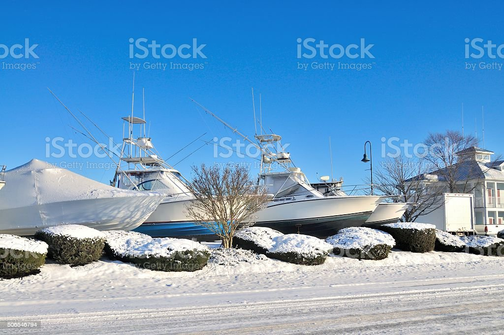 Drydocked Boats Waiting for Spring stock photo