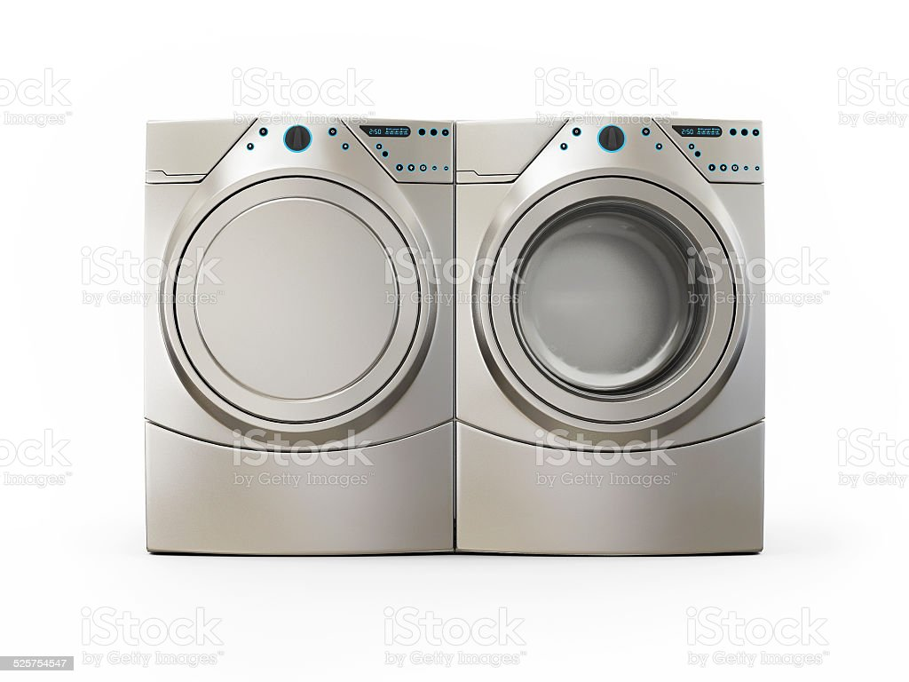 Dryer and Washer Machine Isolated on White Background stock photo