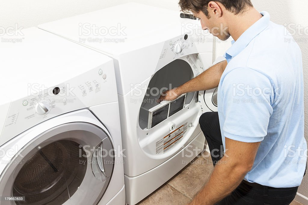Dryer Filter Cleaning royalty-free stock photo