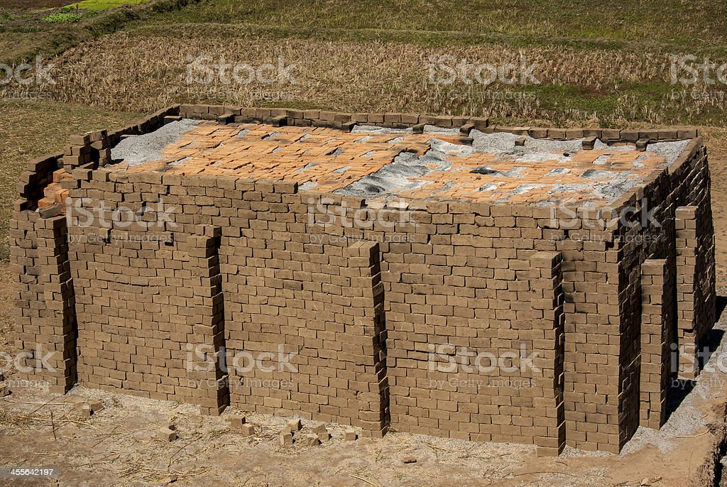 Drying bricks stock photo