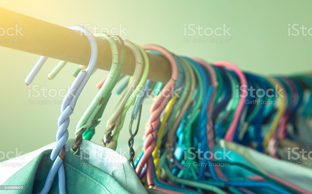 Drying cloth and swaddle on hanger (vintage filter) stock photo