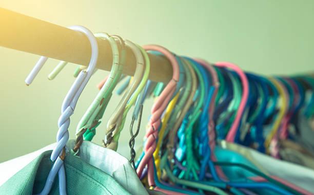 drying cloth and swaddle on hanger (vintage filter) - horizontal gestreiften vorhängen stock-fotos und bilder