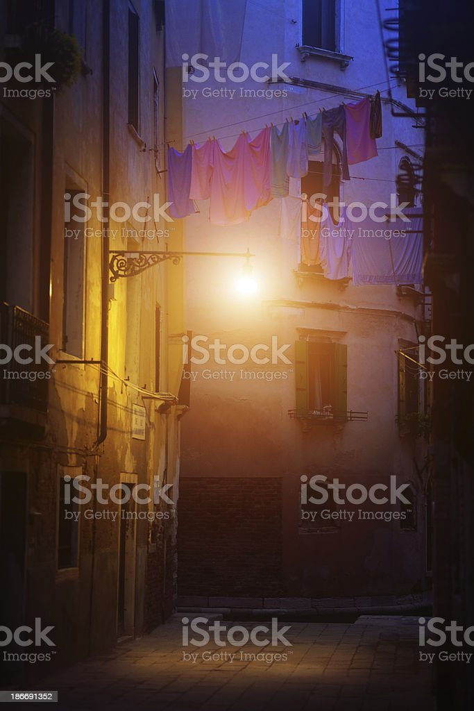 drying clothes in the night, Venice royalty-free stock photo