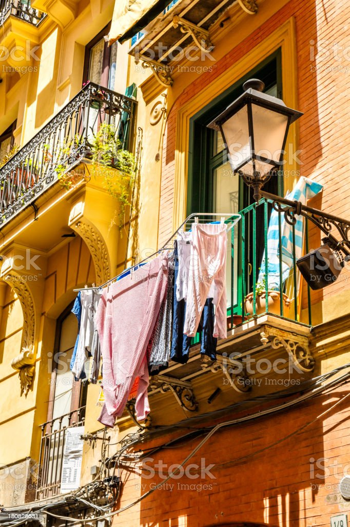 Drying clothes outside during summer. Europe traitional culture. royalty-free stock photo