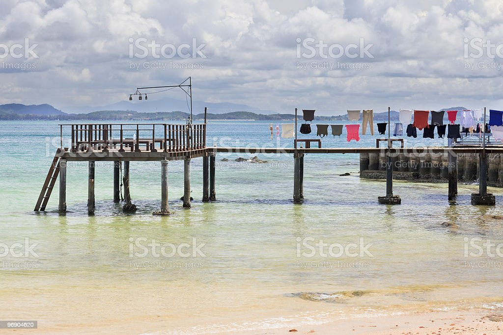Drying clothes over the ocean. royalty-free stock photo