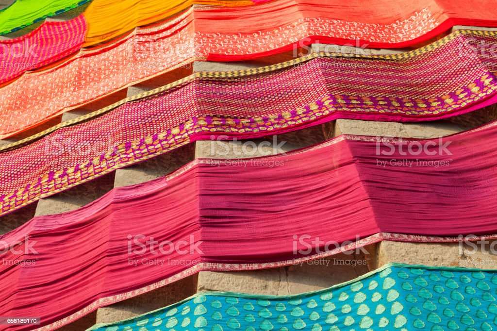 Drying cloths at the ghats of Ganges River stock photo