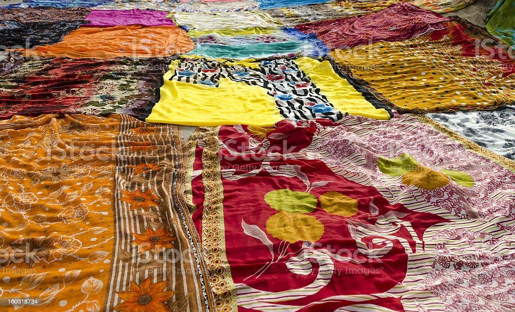 Drying Colorful Indian Sari royalty-free stock photo