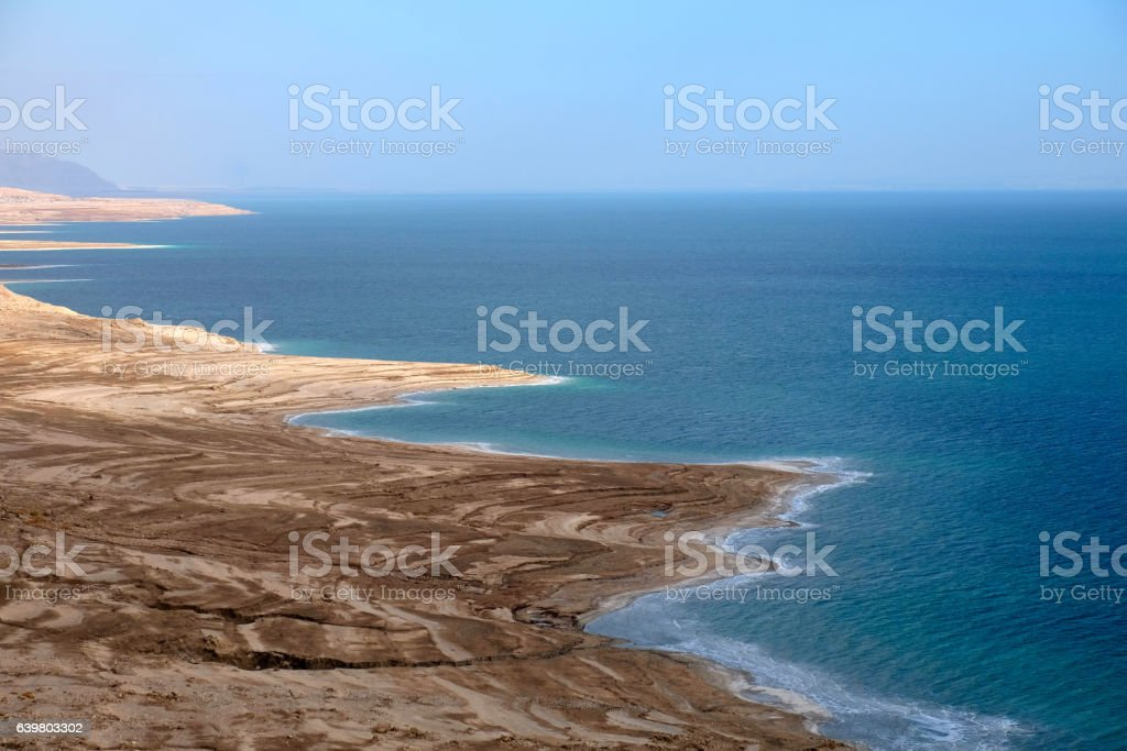 Drying Dead Sea coast. stock photo