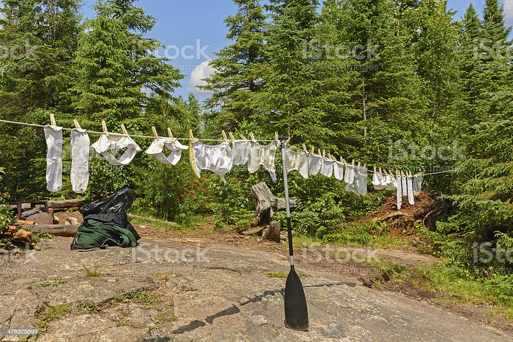 Drying Diapers in the Wilderness stock photo