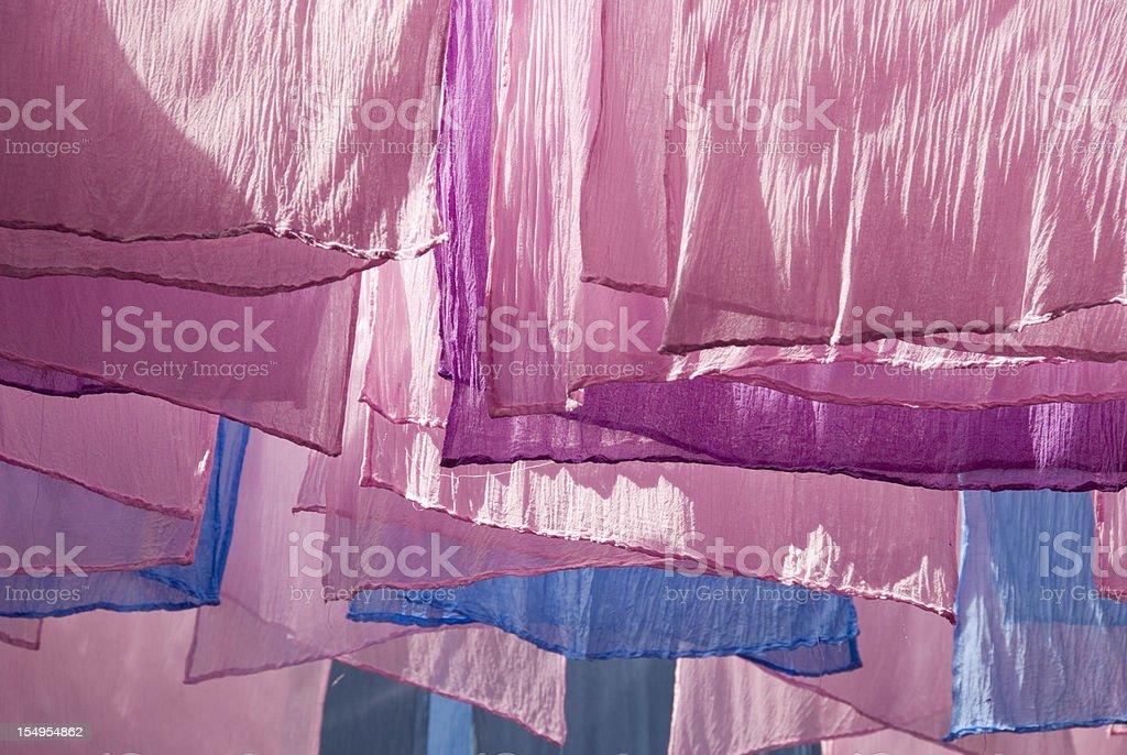 Drying Dyed Fabrics stock photo