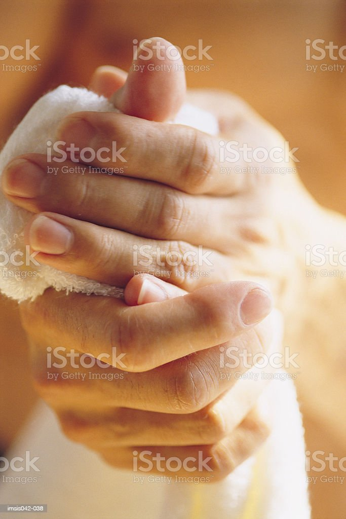 Drying hands royalty-free stock photo