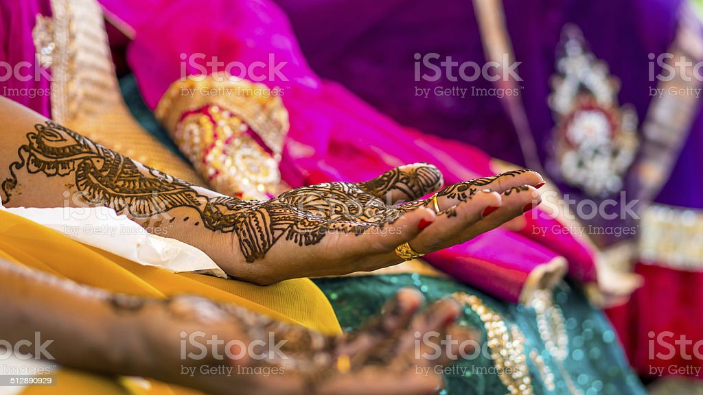 Drying henna tattoo from South indian stock photo