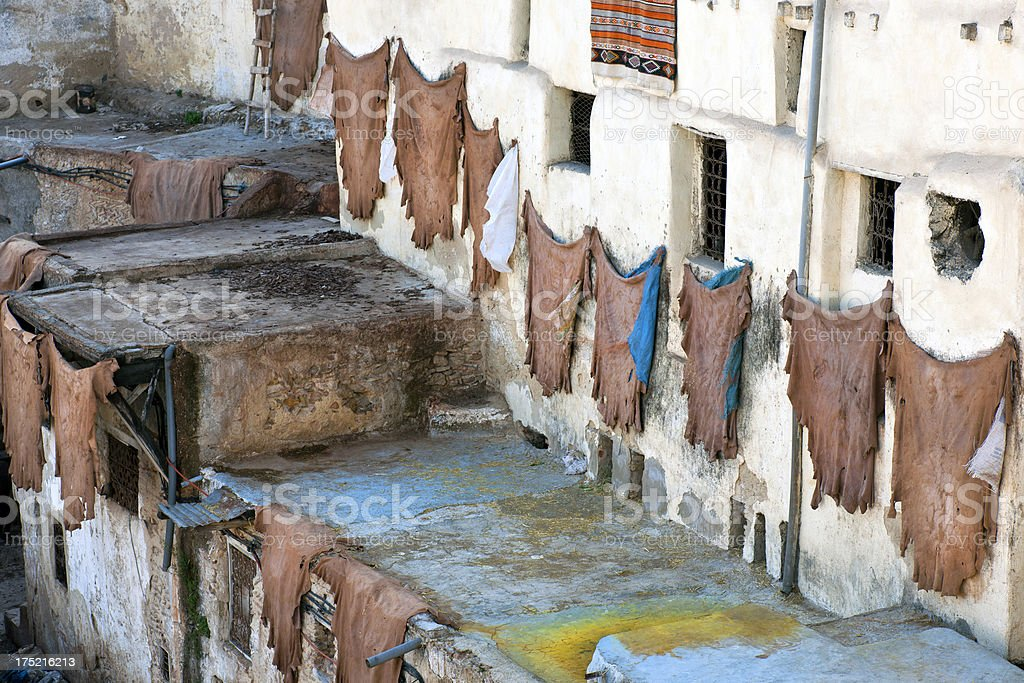 Drying Leather in Tannery, Medina of Fez, Morocco Africa royalty-free stock photo