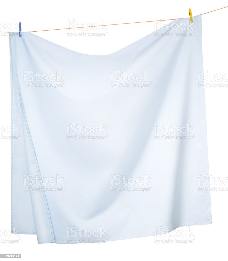 Drying Linen sheets stock photo