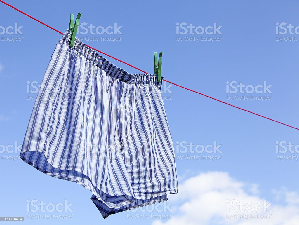 drying mens boxer shorts stock photo