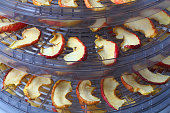 Drying sliced apples at home,  drying rack close-up.