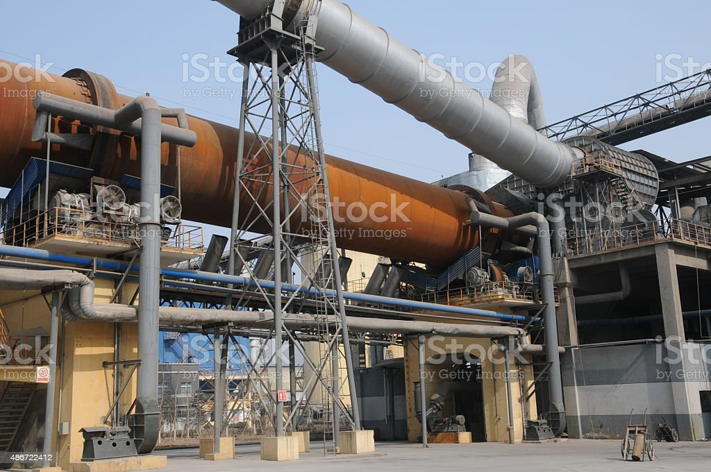 dry-process rotary cement kiln stock photo