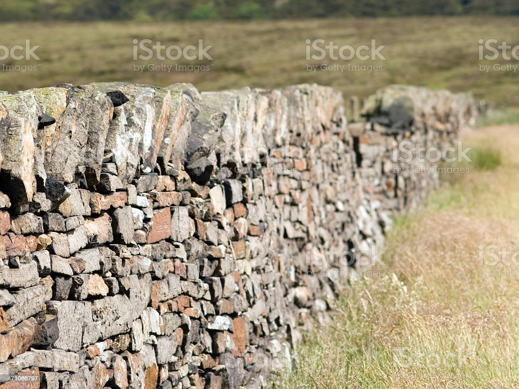 Drystone wall in north-west of England moorland royalty-free stock photo