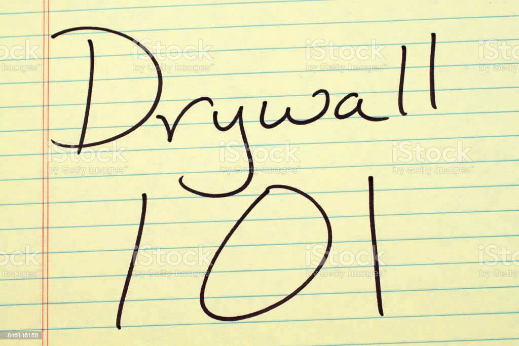 Drywall 101 On A Yellow Legal Pad stock photo