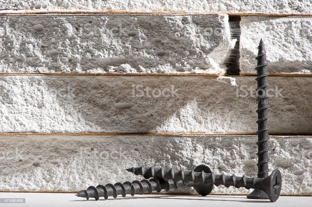 Drywall and Screws stock photo