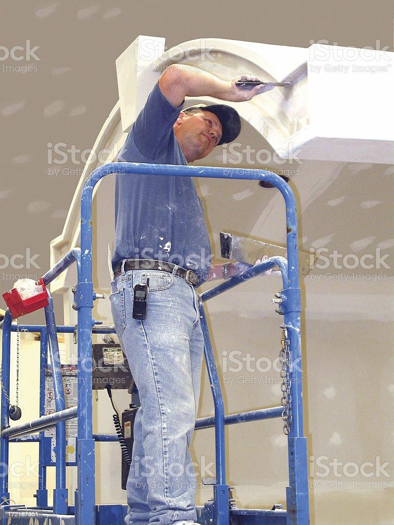 Drywall installer stock photo