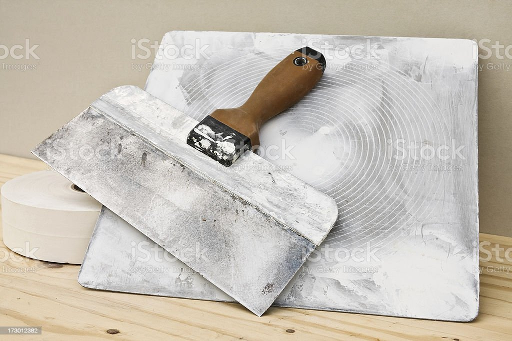 Drywall Knife, Hawk and Joint Tape royalty-free stock photo