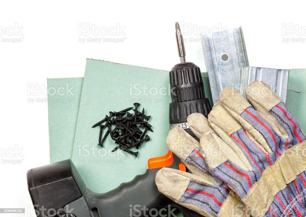 Drywall tools set on white background stock photo