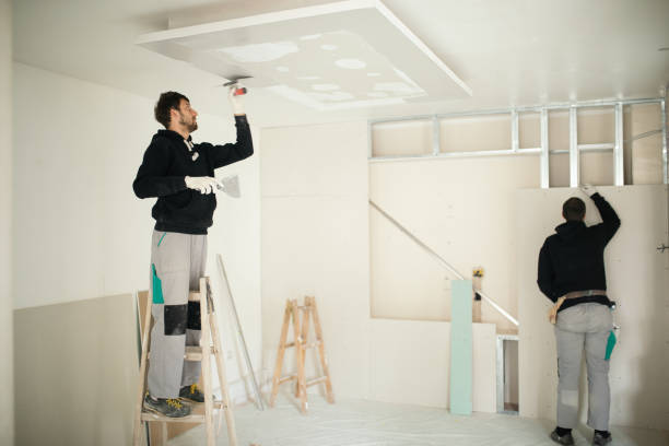 Drywall workers on construction site Professional construction workers installing plaster boards drywall and decorating apartment. plaster ceiling design stock pictures, royalty-free photos & images