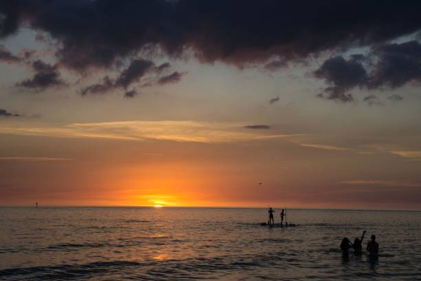 DSC2292a6000 Siesta Key Beach in Sarasota, Florida at sunset stock photo