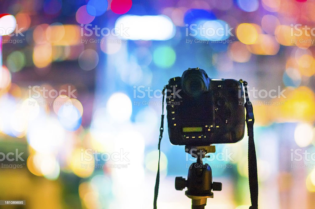 Dslr Camera City Lights Background Stock Photo More Pictures Of