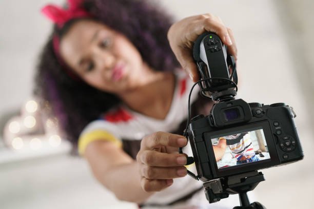 Dslr Camera For Woman Recording Vlog and Tutorial stock photo