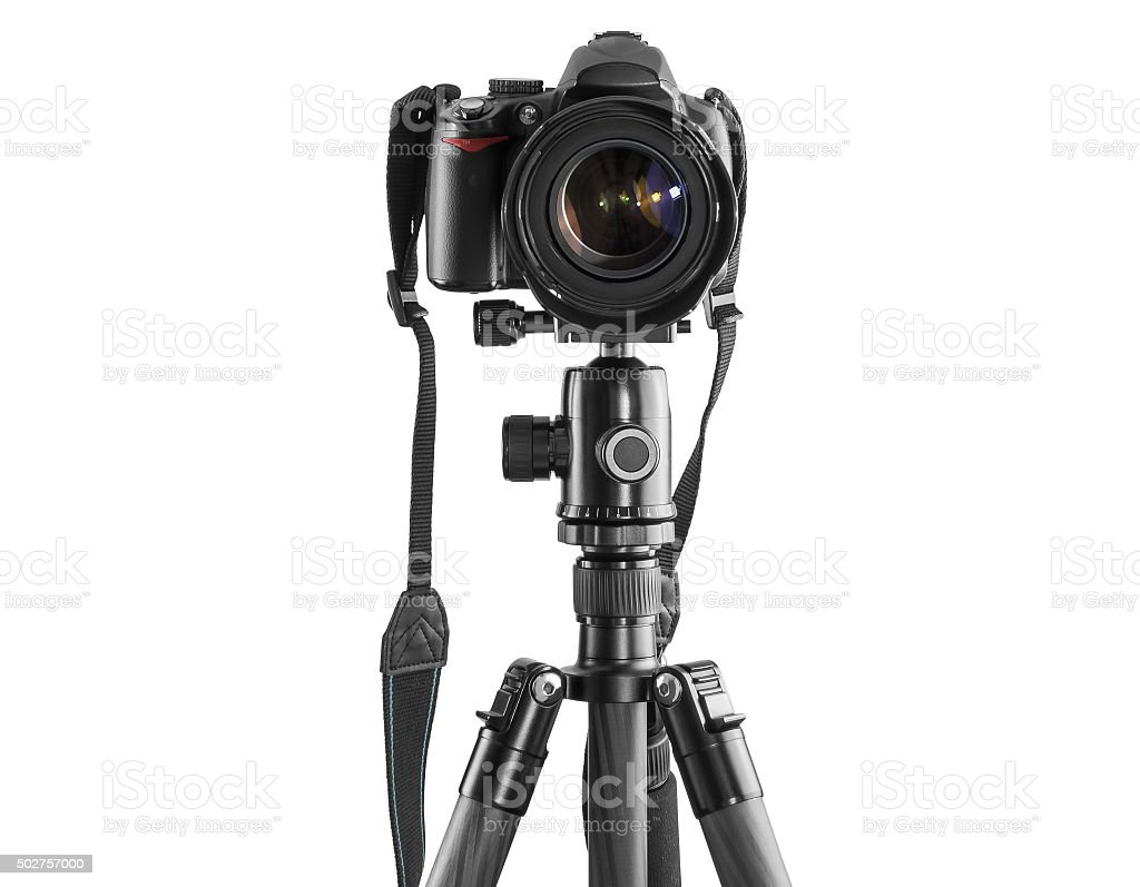 Dslr camera on a tripod stock photo