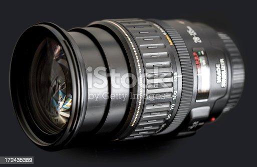 dslr zoom lens on black