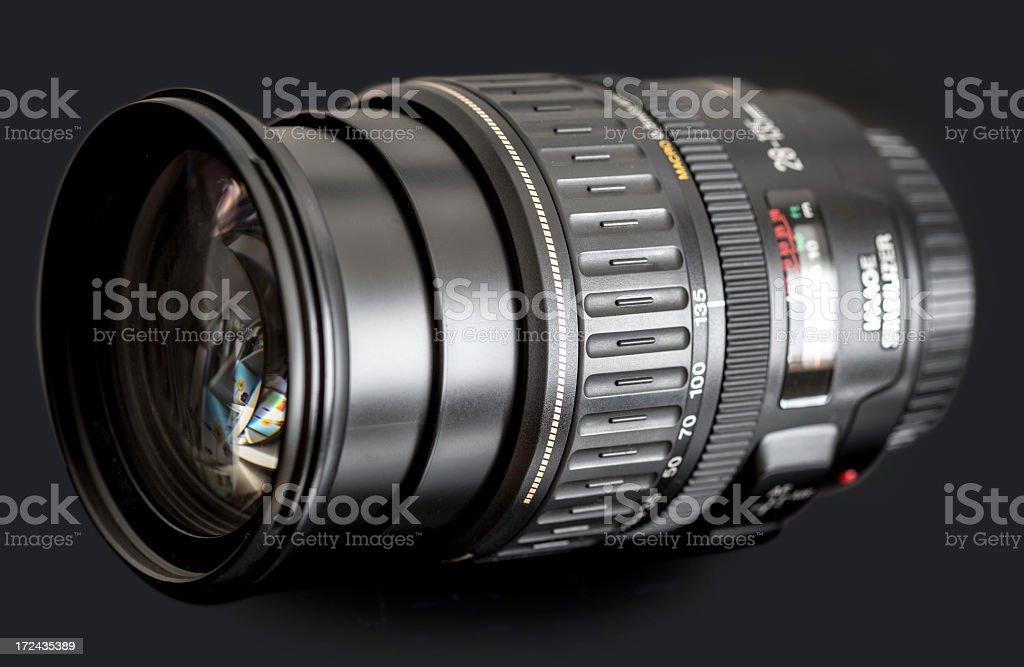 dslr zoom lens on black stock photo