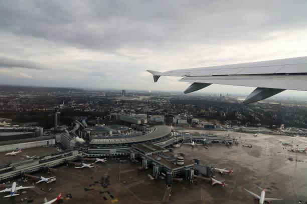Düsseldorf international aeroport from the sky stock photo