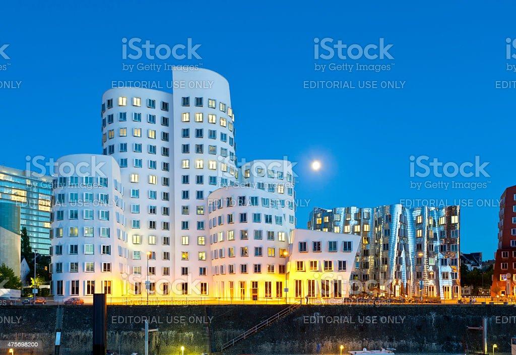 Düsseldorf Medienhafen At Night stock photo