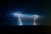 Dual bright lightning that goes into depth of black sea, with branching branches in different directions, which illuminate the southern coast of Crimea and Yalta