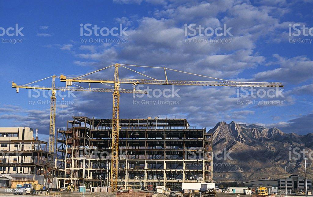 Dual Construction Cranes stock photo