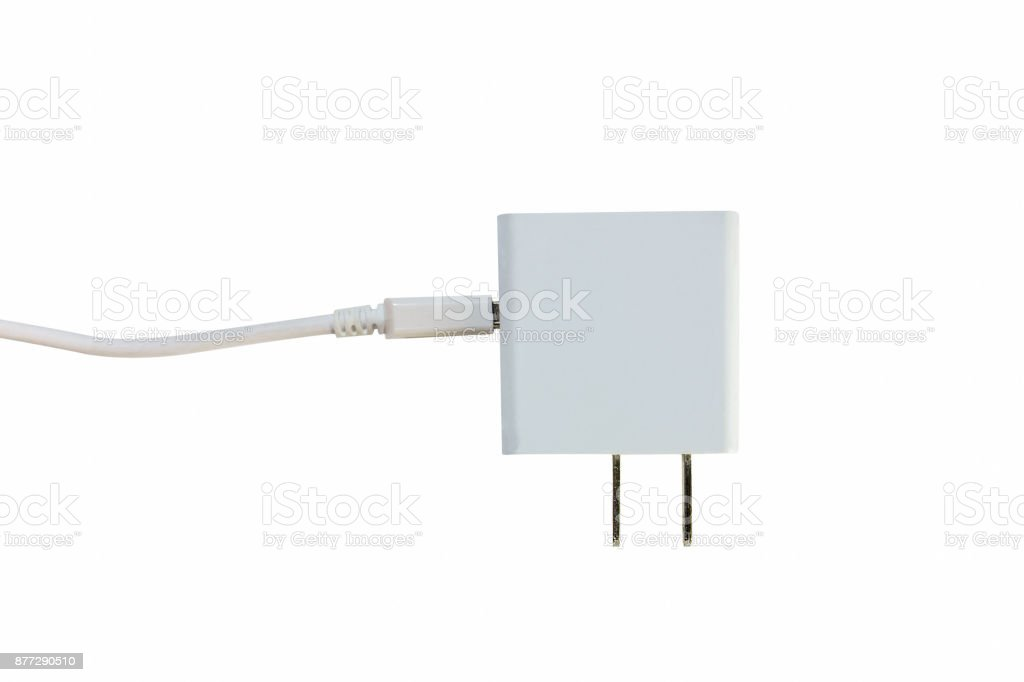 Dual electrical adapter to USB Charger port. It isolated on a white background. White color. stock photo